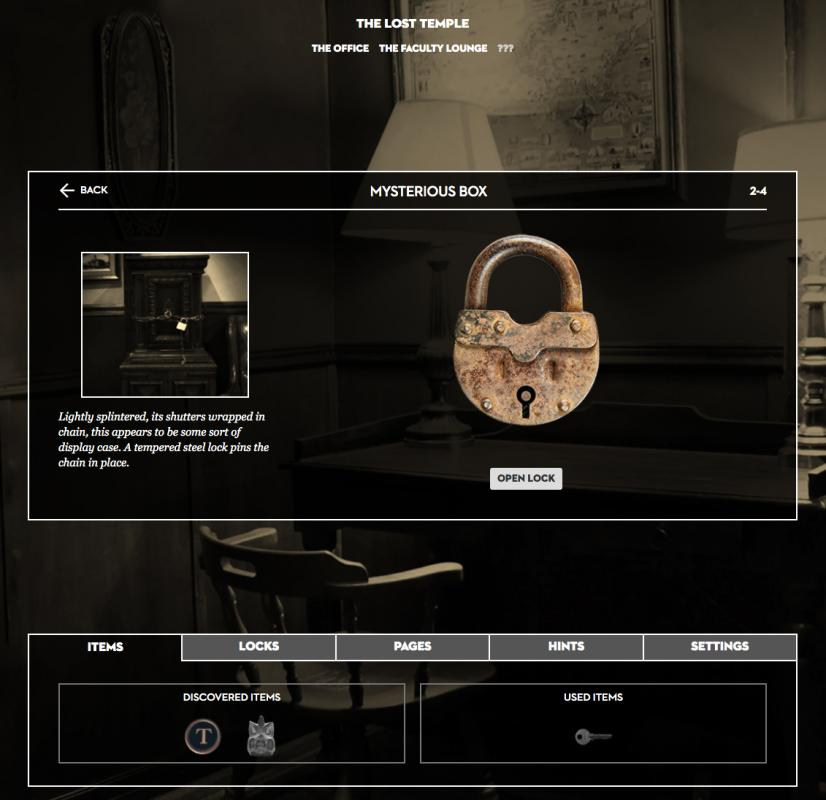 website interface